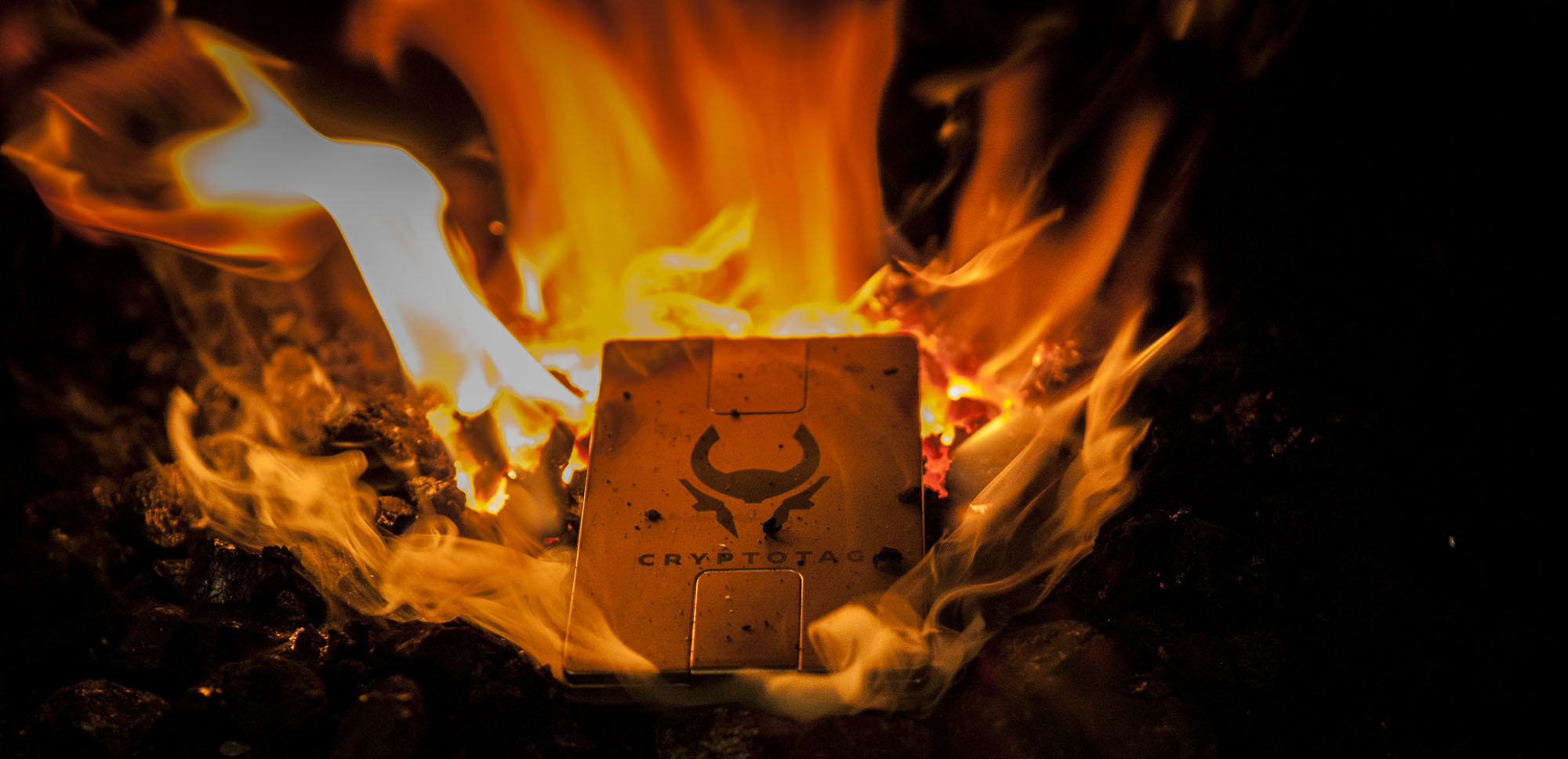 CRYPTOTAG in fire pit
