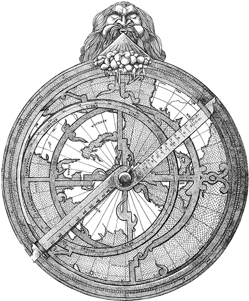astrolabe black pen drawn