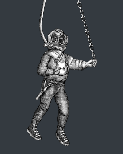 diver with hoses