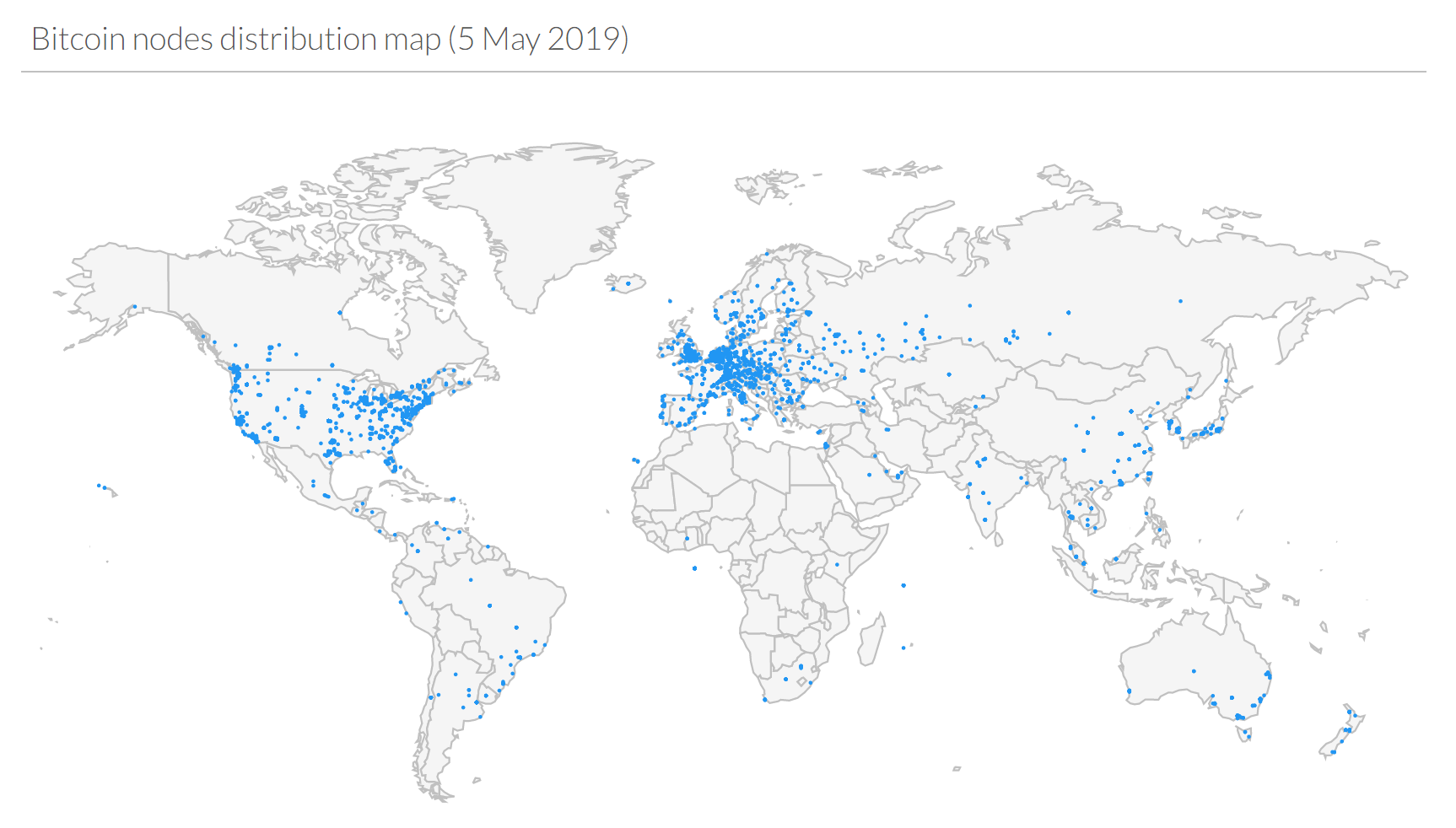 Bitcoin Node destribution map