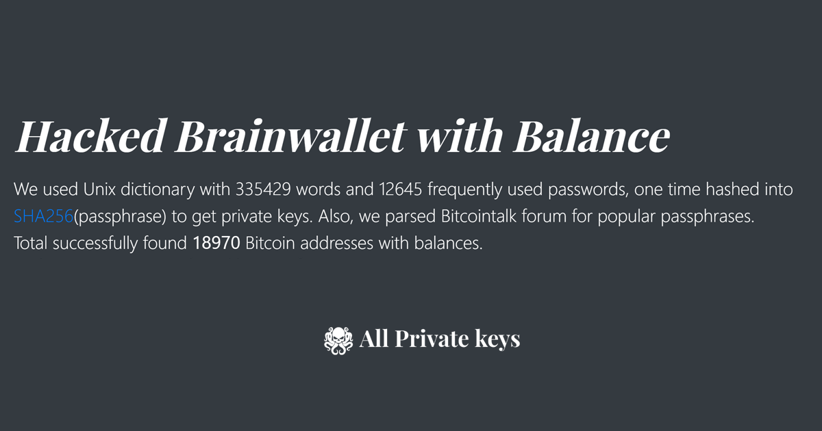 Hacked Brainwallet with Balance