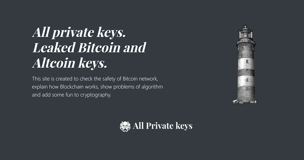All Bitcoin private keys and Altcoin private keys