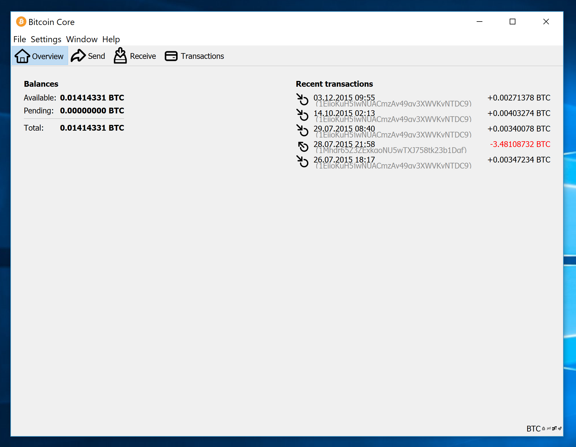 screenshot wallet.dat 0.014BTC bitcoin-qt