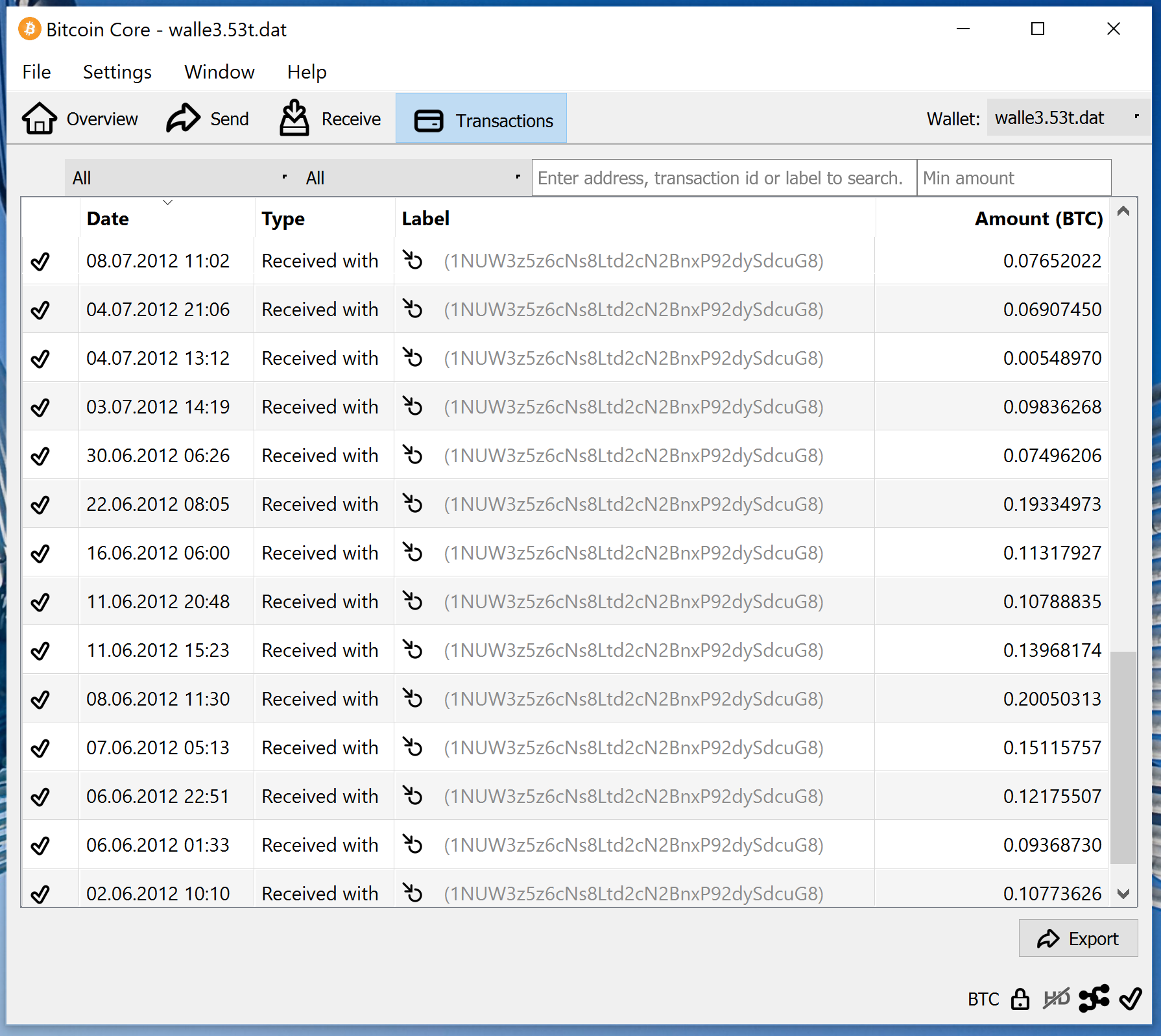 screenshot wallet.dat 3.53BTC bitcoin-qt