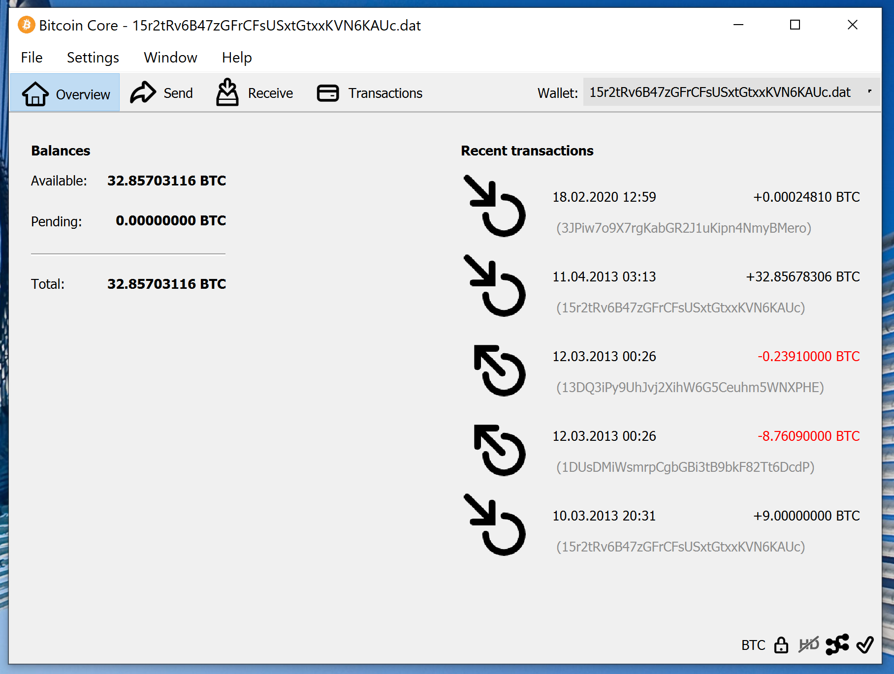screenshot wallet.dat 32.857BTC bitcoin-qt