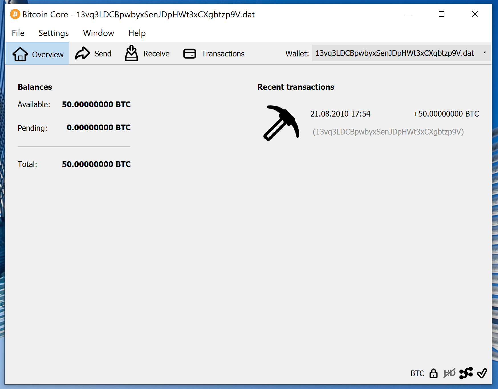 screenshot wallet.dat 50BTC bitcoin-qt